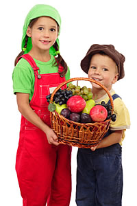 kids with basket
